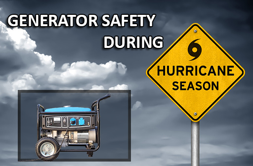"A stormy sky with a generator and a sign saying ""Generator Safety During Hurricane Season"""